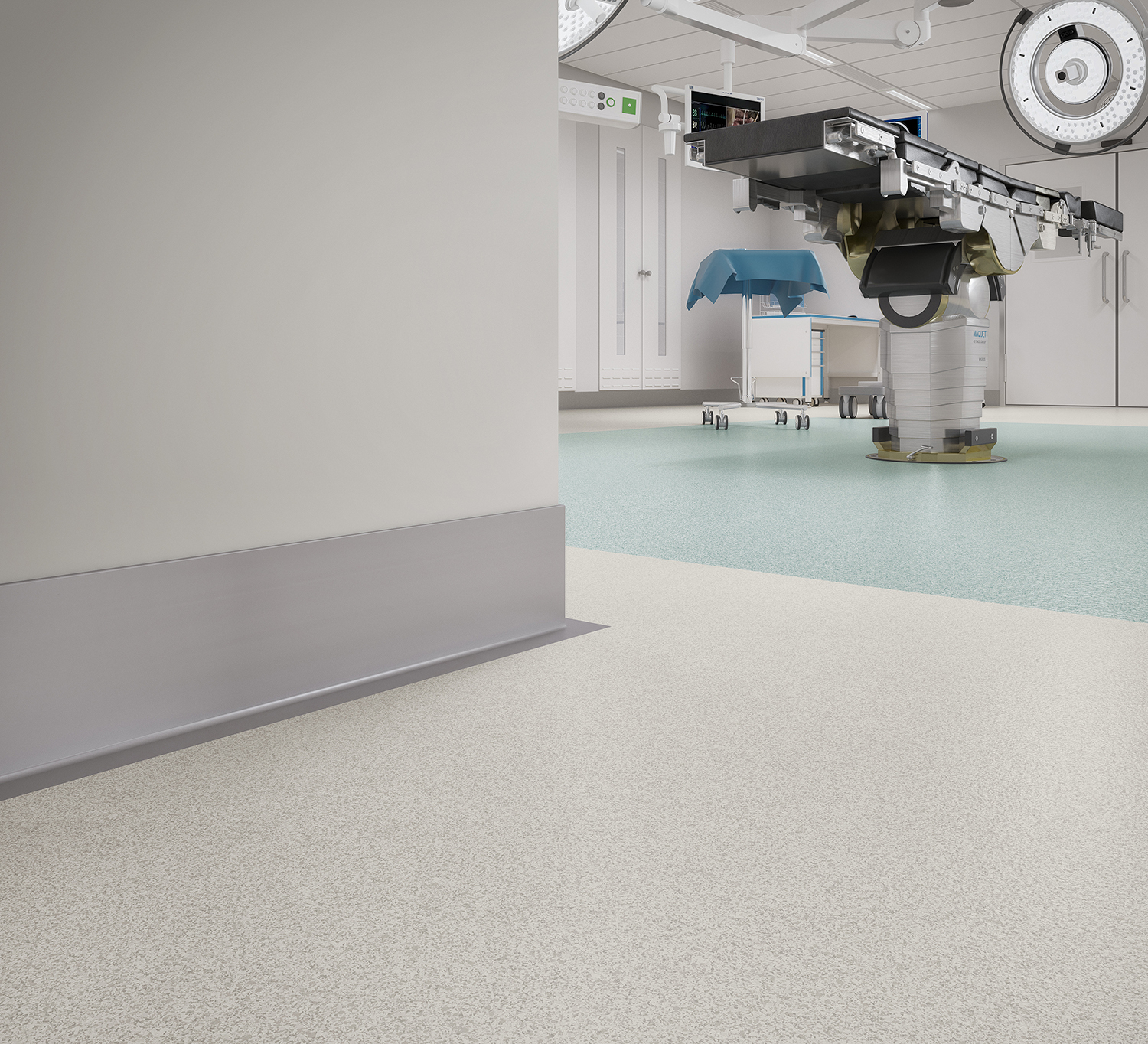 BioSpecArmor Breezy Hus IdealBase IDEAL Gray_ IdealBase RoomScene Flooring for Healthcare