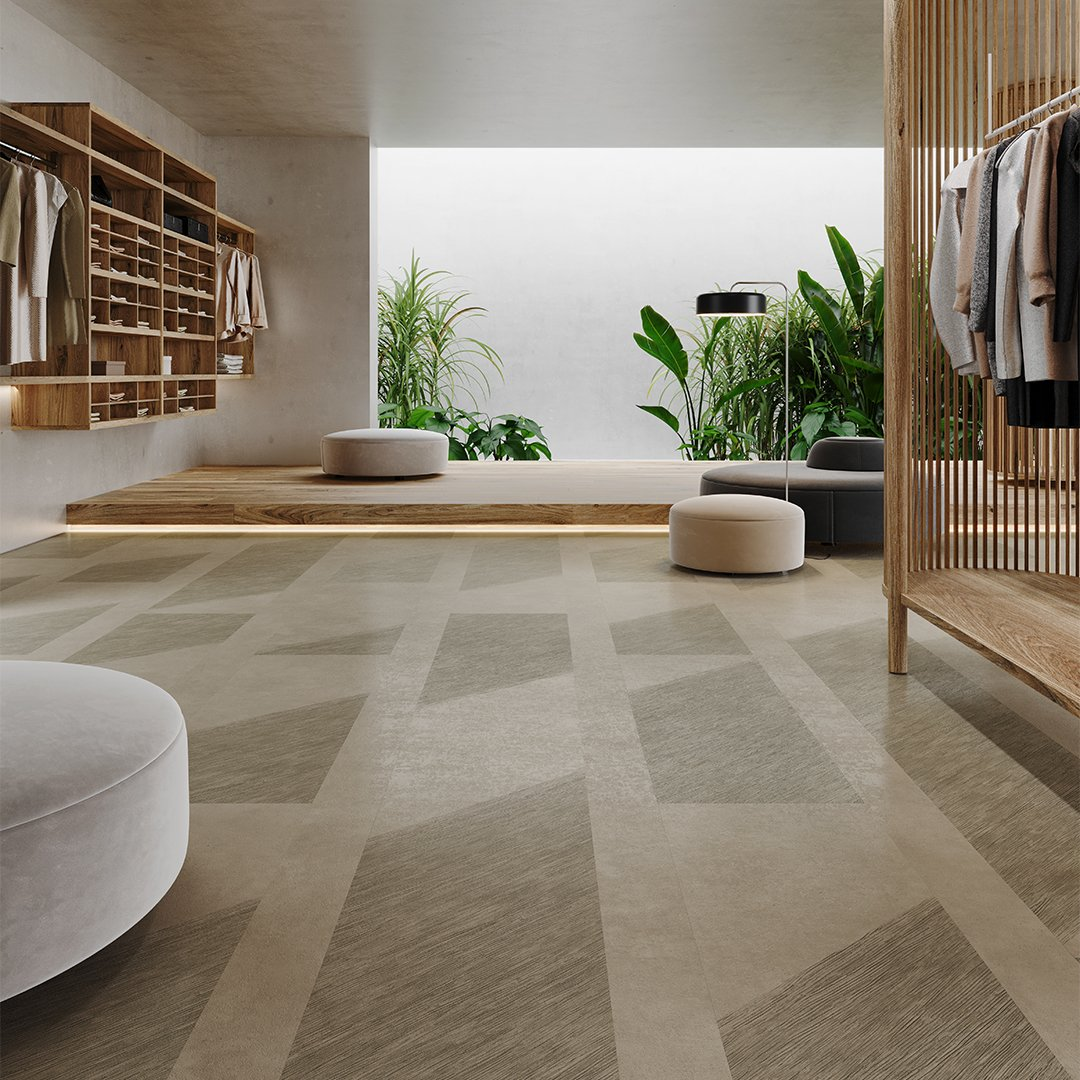 Contoured Poured Concrete Visual Retail Room Scene Commercial Flooring Brown Grey