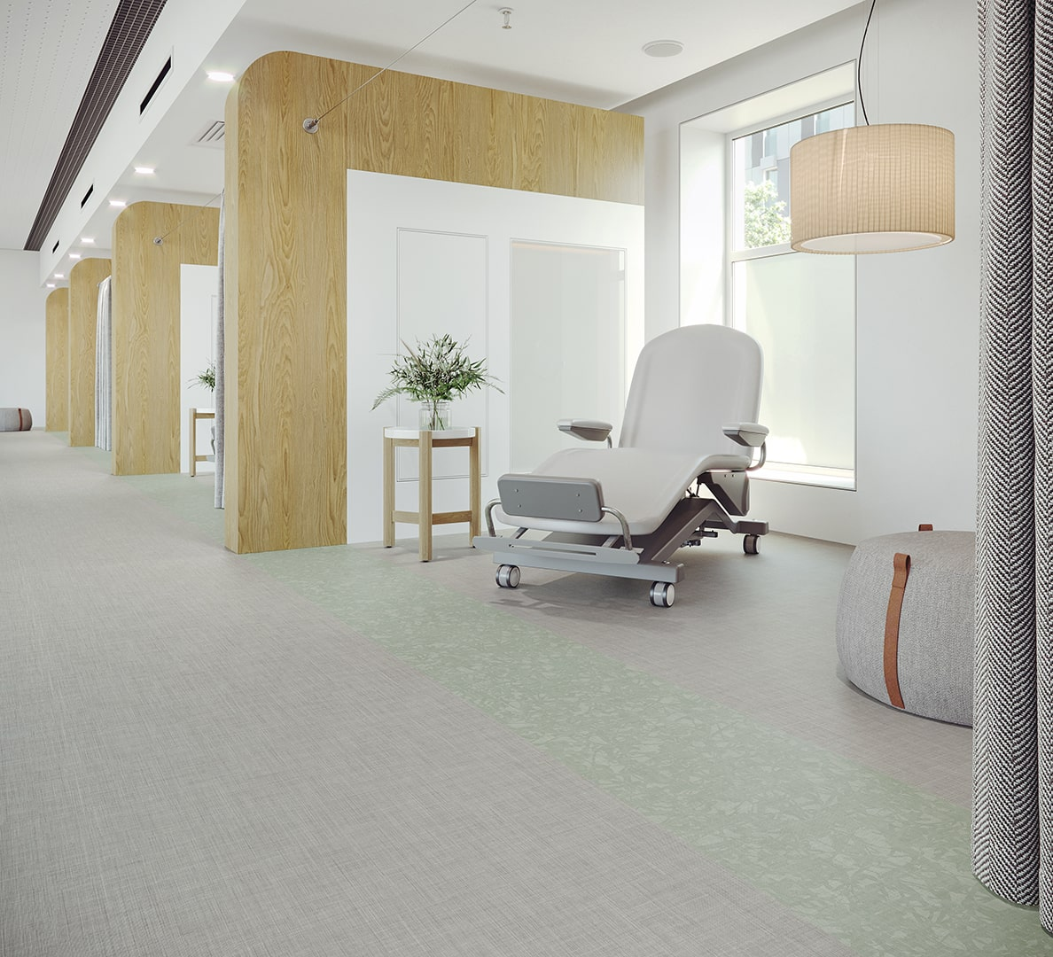 Healthcare Flooring Patient Corridor Bloom_Meander_Seedling_Wellspring_