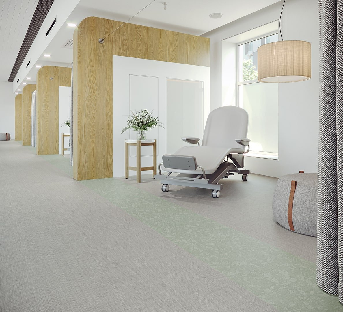 Healthcare Flooring Patient Corridor Bloom_Meander_Seedling_Wellspring_