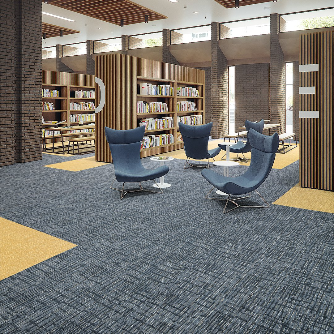 blue commercial carpet education library image for university or k-12 Quadrant_Align_Acute_ 34584_ColorAnchor_Abuzz_52640_RoomScene_Modular