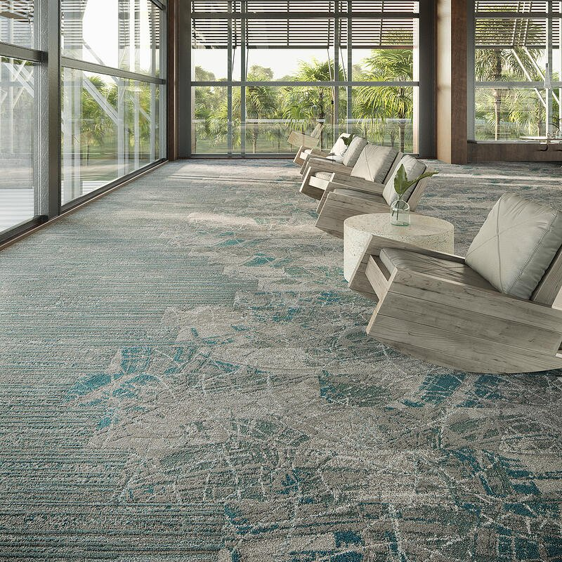 the spin collection mannington commercial green and blue carpet tile flooring for office and workplace design